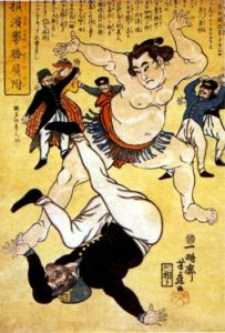 "Image expressing the sentiment ""Expel the foreigner."" Opening Japan was a controversial move, one many in Japan did not support."