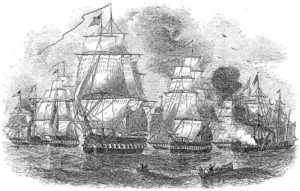 Commodore Perry's fleet making its second visit to Japan.