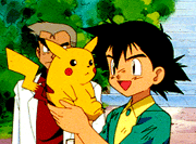 """Ash and Pikachu together in Episode 1 of Pokemon. """"Pokémon episode 1 screenshot"""" by DVD of the first season. Licensed under Fair use of copyrighted material in the context of Pokémon, I Choose You! via Wikipedia -"""
