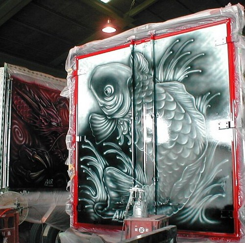 Art truck painted with a koi fish design