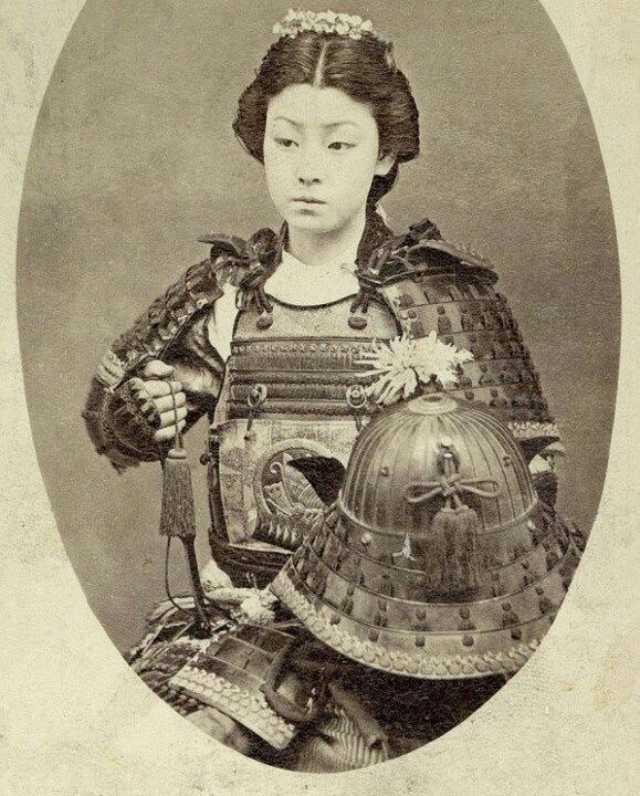 Onna-bugeisha (Woman Samurai) late 1800.  One of the female warriors of the upper social classes in feudal Japan.