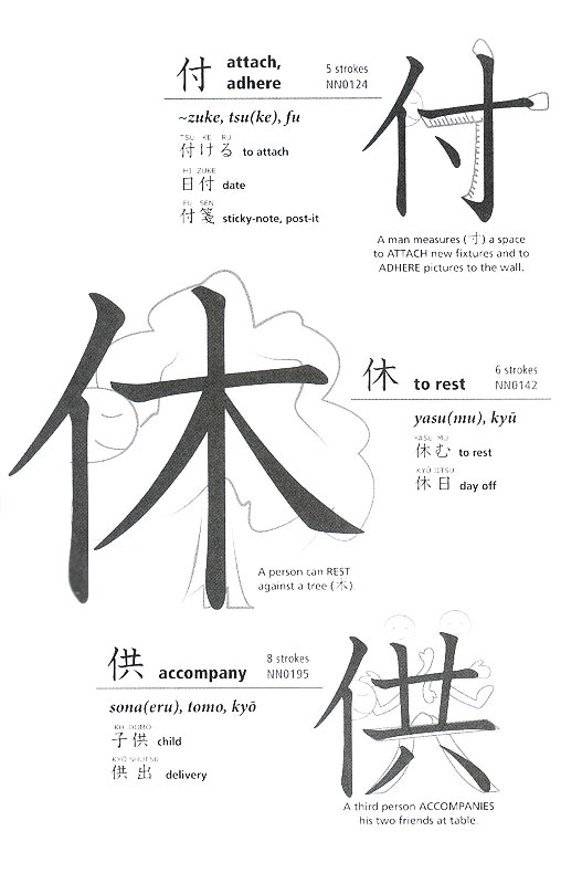 "Most of Kluemper's visual aids are useful for breaking down kanji. ""To Rest"" is a person next to a tree."