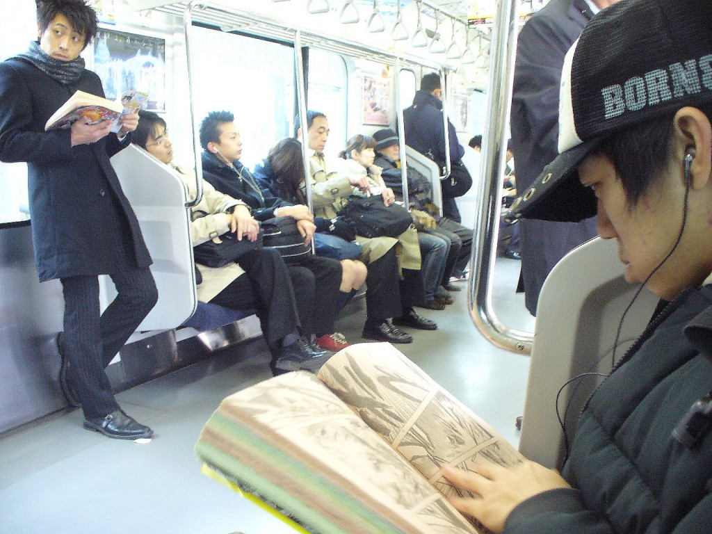 Reading Manga on the Train